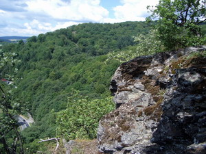 """Am Walterstein steht man direkt über der größen Felswand der """"Nassauer Schweiz"""". Ein rasanter Traildownhill führt 150m steil zu Tal."""