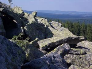 Typischer Gipfelaufbau: Blockmeer an der Platte.