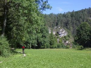 Im Haselbrunner Tal bei Pottenstein rollt es auf schmalen Wiesentrails perfekt.